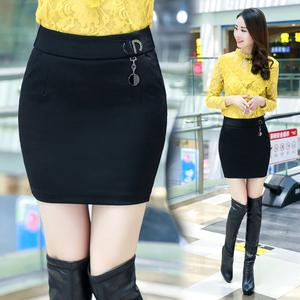 秋冬新款半身裙秋显瘦大码微胖女装ol职业短裙黑色修身性感包臀裙