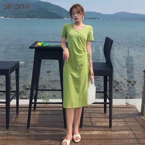 韩版修身抽绳中长款V领<span class=H>连衣裙</span>女夏季新款纯色纯棉高腰短袖体恤裙