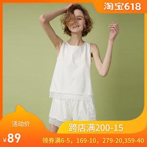 夏季新款家居服女性感蕾丝花边背心短裤薄款舒适透气纯棉<span class=H>睡衣</span>套装