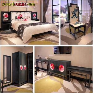 北京商务酒店客房1.8米<span class=H>大床</span>房成全套家具床靠背板 实木皮油漆床架
