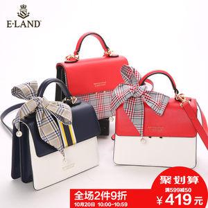 2件9折|ELAND18春季新款<span class=H>撞色</span>时尚<span class=H>单肩包</span>手拎斜挎包女专柜同款