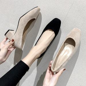 <span class=H>鞋子</span>女2019新款春季中跟百搭学生方头粗跟单鞋黑色法式少女面试鞋