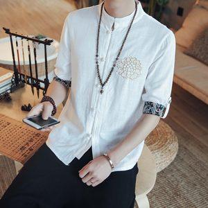 中国风男短袖唐装大码复古中袖衬衫立领盘扣民族<span class=H>汉服</span>刺绣上衣青年