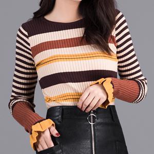 新品秋季女装修身荷叶边长袖毛衣时尚彩色条纹针织衫<span class=H>打底衫</span>上衣潮