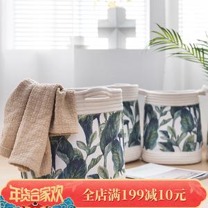 北欧植物布艺脏衣篓换洗衣物收纳筐儿童玩具杂物<span class=H>收纳桶</span>可折叠水洗