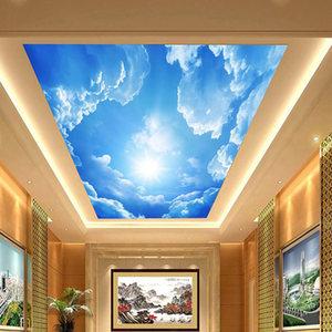 蓝天白云壁纸壁画客厅卧室吊顶3d墙纸5d立体天花板现代中式墙布