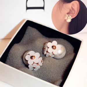 韩国韩版花朵小雏菊花团前后双面珍珠小清新甜美耳钉夸张大耳环