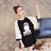 2009 New Women's Spring Fashion European Station Fashion Colour Chiffon Loose Medium and Long Open Short Sleeve T-shirt