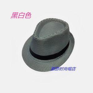 包邮男女<span class=H>帆布</span>格礼帽春夏韩版休闲帽子黑白小格子爵士英伦帽千鸟帽