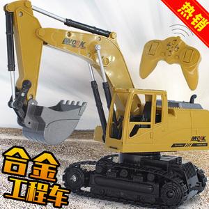 儿童合金无线遥控挖掘机挖土机电动灯光大号玩具<span class=H>遥控车</span>工程车男孩
