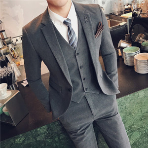 新款西装男英伦风韩版修身套装商务休闲结婚西服礼服小码男装潮