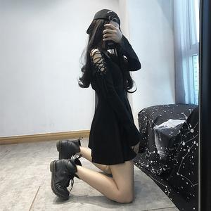 暗黑系连衣裙女原宿黑色日系复古丧系高冷禁欲系女装少女气质性感