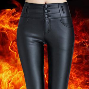 皮裤<span class=H>女</span>2017<span class=H>新款</span>高腰秋冬外穿加<span class=H>绒</span>加厚保暖亚光PU皮显瘦哑光打底裤