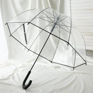 沛欣透明伞女 公主风拱形伞小清新弯柄伞纯色<span class=H>雨伞</span>抗风英伦长柄伞