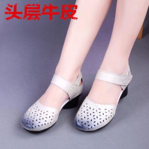 18新款<span class=H>牛皮</span><span class=H>女鞋</span>民族<span class=H>风</span>复古真皮粗跟镂空包头女<span class=H>凉</span>鞋中跟洞洞妈妈鞋