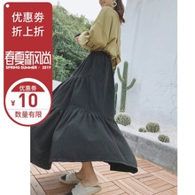 Temperament Half-length Skirt 2019 Spring Harbor Style Flexible High Waist Slim Wash Cotton Large Lotus Leaf Edge Jean Umbrella Skirt