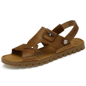 骆驼夏季男<span class=H>凉鞋</span>2019旗舰店真皮缝线软底沙滩鞋男士防滑两穿凉拖鞋