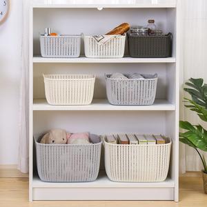 家用仿藤编桌面收纳篮塑料镂空收纳筐厨房零食收纳盒浴室洗澡篮子