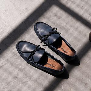 夏季透气真皮头乐福鞋男韩版潮流<span class=H>豆豆鞋</span>帆船鞋英伦平底套脚懒人鞋
