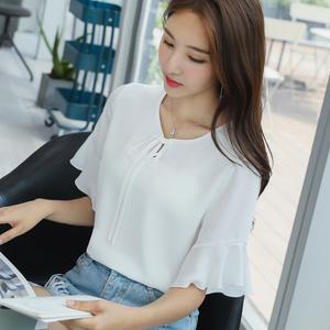 蕾可妮斯2018夏装新款雪纺衬衫女短袖<span class=H>女装</span>喇叭袖上衣柔美显瘦衬衫