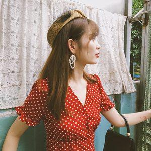 爱有天意 暗红色波点复古荷叶袖少女vintage修身裙显瘦度假<span class=H>连衣裙</span>