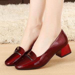 秋季<span class=H>鞋子</span>女新款粗跟<span class=H>女鞋</span>浅口小皮鞋真皮单鞋工作鞋中跟春季鞋大码