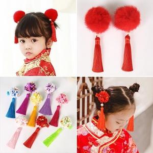 儿童过年头饰品发夹女童中国风红色毛球<span class=H>发饰</span>流苏宝宝唐装新年头花