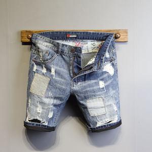 短裤男 潮流韩版个性刮烂牛仔裤修身青年19夏季新款牛仔5五分裤潮