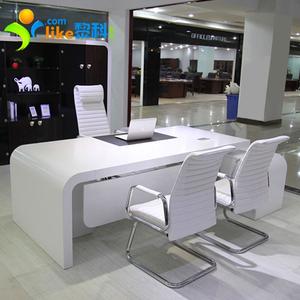 白色烤漆老板<span class=H>办公桌</span>简约现代创意总经理桌时尚大班桌椅组合大班台