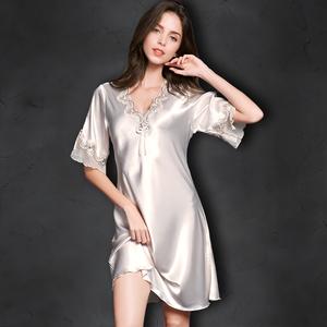 薄款真丝睡衣蕾丝性感大码冰丝睡裙