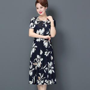 媽媽裝裙子2019夏季中老年<span class=H>女裝</span>中年女士闊太太連衣裙高貴氣質時尚