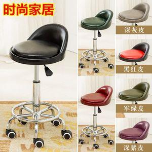 铁腿带滑轮椅面小巧的工作椅子升降收银台高凳子吧台桌酒吧凳