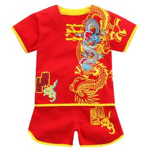 男童夏裝百天嬰兒短袖童裝唐裝小孩夏天衣服純棉寶寶套裝0-1-2歲