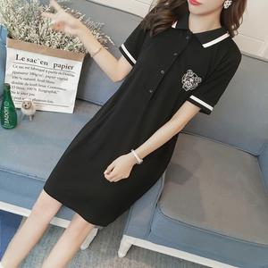 夏装中长款POLO领短袖T恤裙女纯棉黑色大码<span class=H>女装</span>打底裙子上衣潮秋