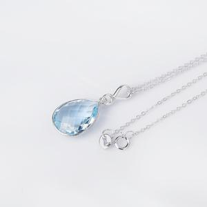 GSK<span class=H>珠宝</span>饰品7.5克拉天然蓝托帕石16x12mm梨形925银吊坠
