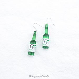 daisy定制 韩国趣味搞怪可爱<span class=H>清酒</span>瓶子耳环耳夹s925银新品