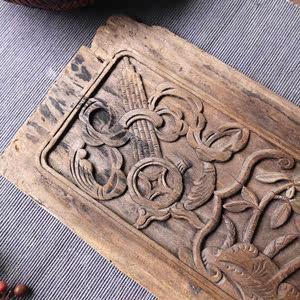 木雕清代江南楠木鎏金花板摆件茶台干泡老物件古董中式特价8541