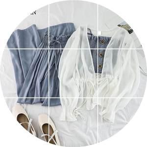 时尚套装女韩版小清新雪纺<span class=H>开衫</span>皱褶小吊带高腰花苞阔腿长裤三件套