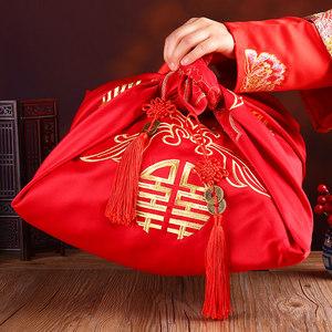 大号包袱皮新娘陪嫁喜 结婚女方嫁妆红盆<span class=H>包裹布</span> 婚庆用品