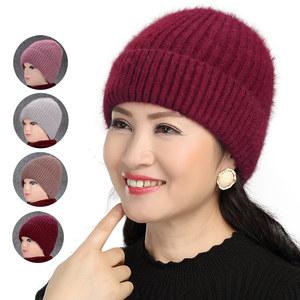 中老年人帽子兔毛针织<span class=H>毛线帽</span>女秋冬季抗寒保暖帽妈妈奶奶帽加厚绒