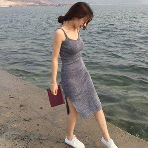 2018新款中长裙<span class=H>吊带</span>包臀裙子针织紧身背心长裙性感修身连衣裙女夏