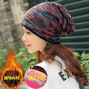 帽子女秋冬<span class=H>包头</span>帽冬季帽骑车护耳加厚针织帽套头帽保暖加绒月子帽