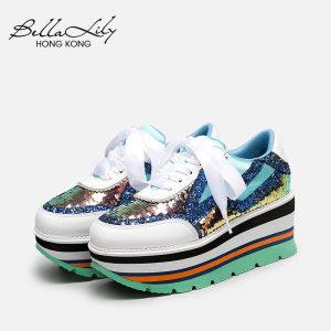 Bella Lily2018夏季新款厚底内增高<span class=H>潮鞋</span><span class=H>女</span>丝带彩虹<span class=H>亮片</span>休闲运动鞋