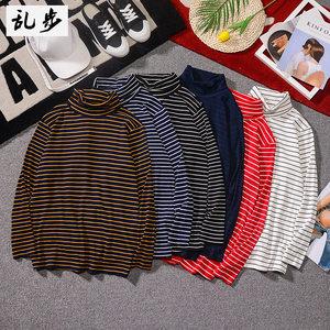 黑白条纹<span class=H>T恤</span>男长袖2018秋季新款韩版潮流文艺宽松高领打底衫上衣