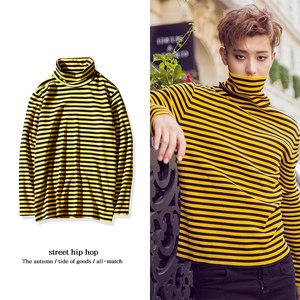 春秋韩版修身长袖T恤exo同款高领条纹打底衫黄色休闲男情侣装上衣
