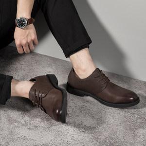 <span class=H>男鞋</span>夏季透气休闲皮鞋男士英伦百搭复古真皮圆头韩版商务潮流大头