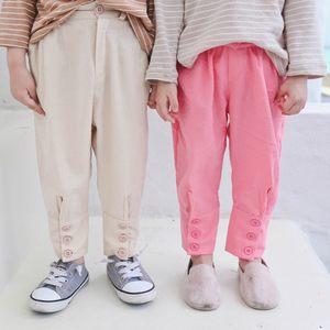 2019春款新款童装脚口<span class=H>排扣</span><span class=H>休闲裤</span>儿童<span class=H>休闲裤</span>子男童长裤女童小脚裤