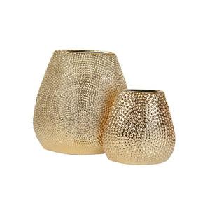 现代简约轻奢大肚宽口陶瓷电镀圆点金色<span class=H>花瓶</span>家居软装样板房摆件