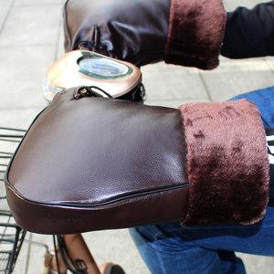 电动车手套棉把套冬季电瓶摩托车加厚护手防水防风保暖PU皮革男女