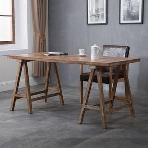 梵辰复古简约棕色实木<span class=H>电脑桌</span>办公书桌服装店展示桌美甲台长桌做旧